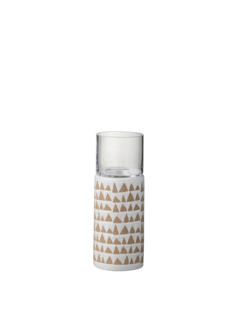 Photophore Triangulaire Ceramique Marron/Blanc S