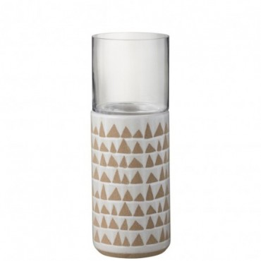 Photophore Triangulaire Ceramique Marron/Blanc L