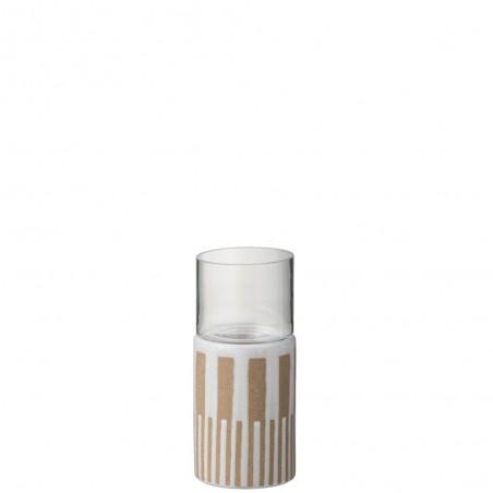 Photophore Lignes Ceramique Marron/Blanc S