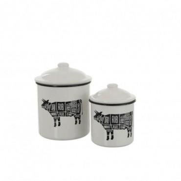 Set De 2 Pots A Provision Vache Metal Blanc/Noir