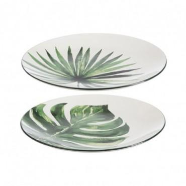 Assiette Tropical Ceramique Blanc/Vert