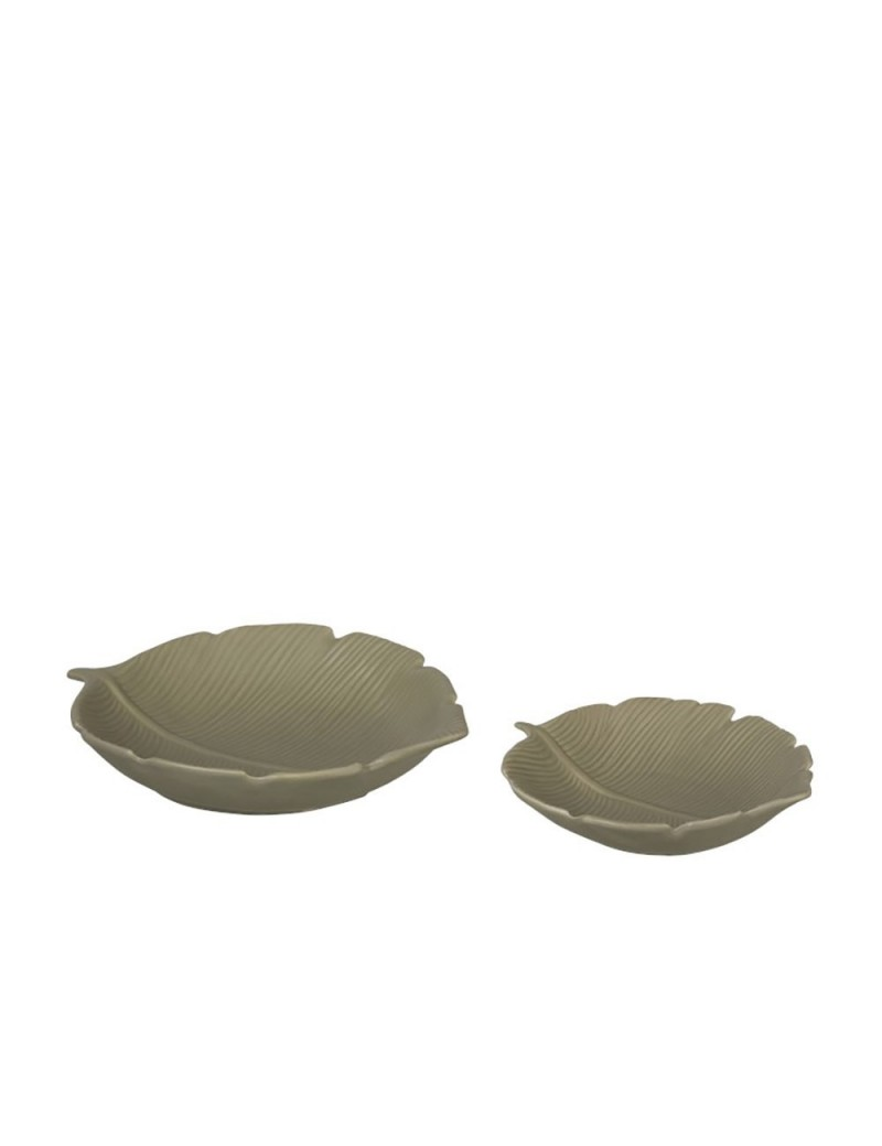 Set De 2 Plats Feuille Rond Porcelaine Vert