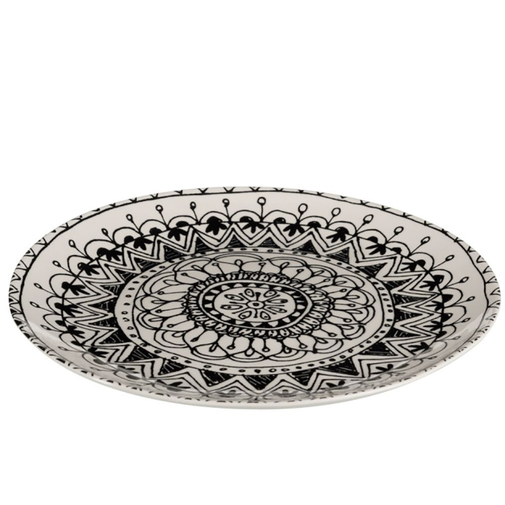 Assiette Boho Ceramique Noir/Blanc L