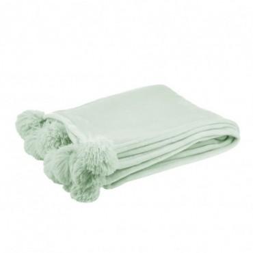 Plaid Pompon Polyester Vert Claire