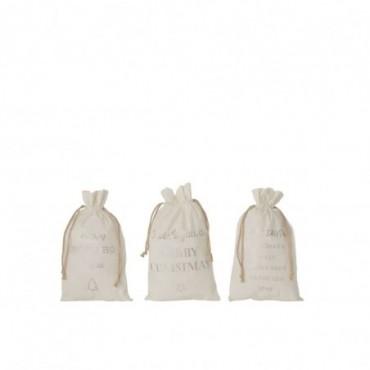 Pochette Noel Anglais Velours Blanc Taille M x3