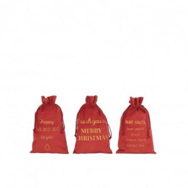 Pochette Noel Anglais Velours Rouge Taille M x3