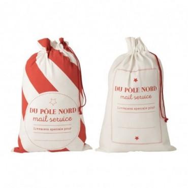 Pochette Noel Francais Coton Blanc/Rouge Taille L x2
