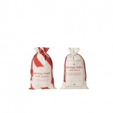 Pochette Noel Francais Coton Blanc/Rouge Taille M x2
