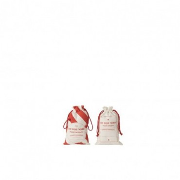 Pochette Noel Francais Coton Blanc/Rouge Taille S x2