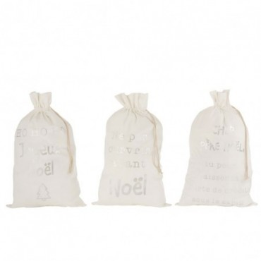 Pochette Noel Francais Velours Blanc Taille L x3