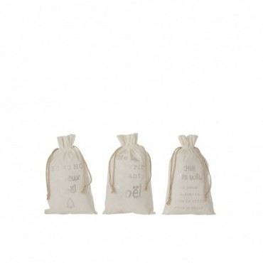 Pochette Noel Francais Velours Blanc Taille M x3