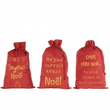 Pochette Noel Francais Velours Rouge Taille L x3