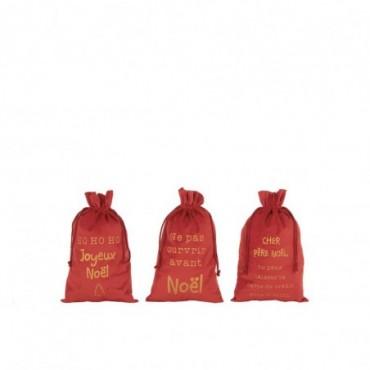 Pochette Noel Francais Velours Rouge Taille M x3
