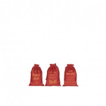 Pochette Noel Francais Velours Rouge Taille S x3