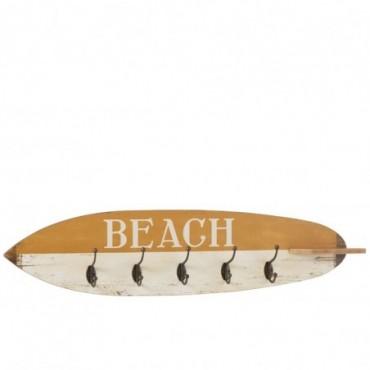 Portemanteau 5 Crochets Planche De Surf Bois Ocre