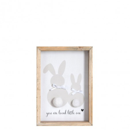 Deco Medium Lapin Bois/Verre Gris/Blanc/Nature