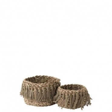 Set De 2 Paniers + Floches Bas Tisse Herbes Naturel
