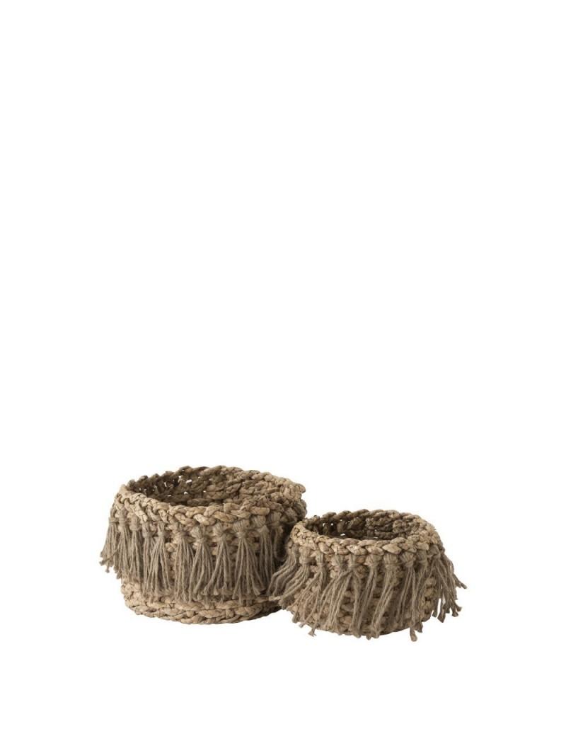 Set De 2 Paniers + Floches Bas Tisse Herbes Naturel