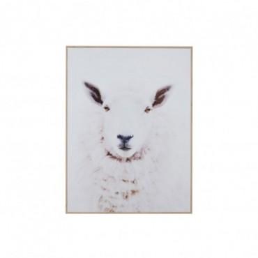 Cadre Mouton Bois/Papier Blanc/Nature