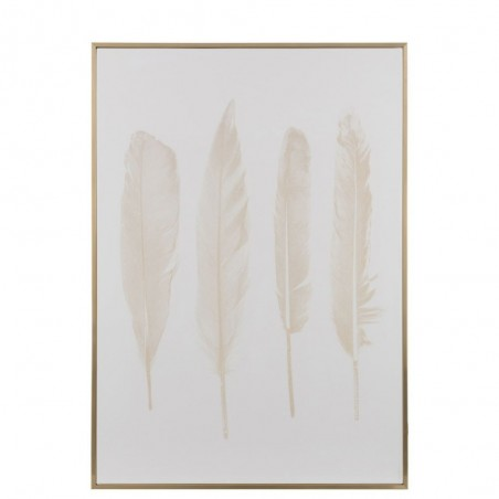 Cadre 4Plumes Bois/Or/Blanc