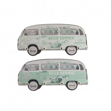 Portemanteau Mural Minibus Mdf Vert x2