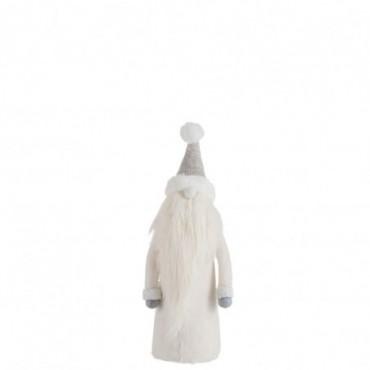 Pere Noel Barbe Longue Textile Gris/Blanc S