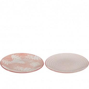 Assiette Tropical Porcelaine Corail Rouge Taille L x2