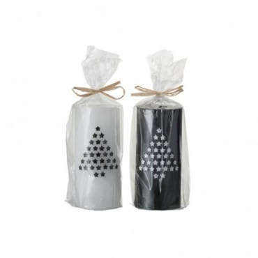 Bougie Cylindrique Ar Cire Blanc/Noir
