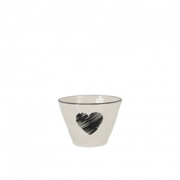 Bol Coeur Ceramique Noir/Blanc