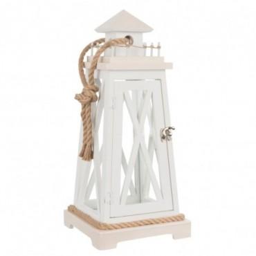 lanterne phare en bois blanc -beige