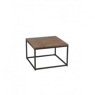 Table Gigogne Bois Metal Marron + Noir