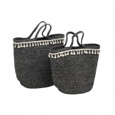 Set De 2 Paniers Long Jute Noir