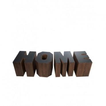 Set De 4 Tables Gigognes Home Bois Marron + Noir