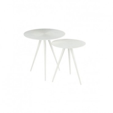 Set De 2 Tables Gigognes Ligne Metal Mat Blanc