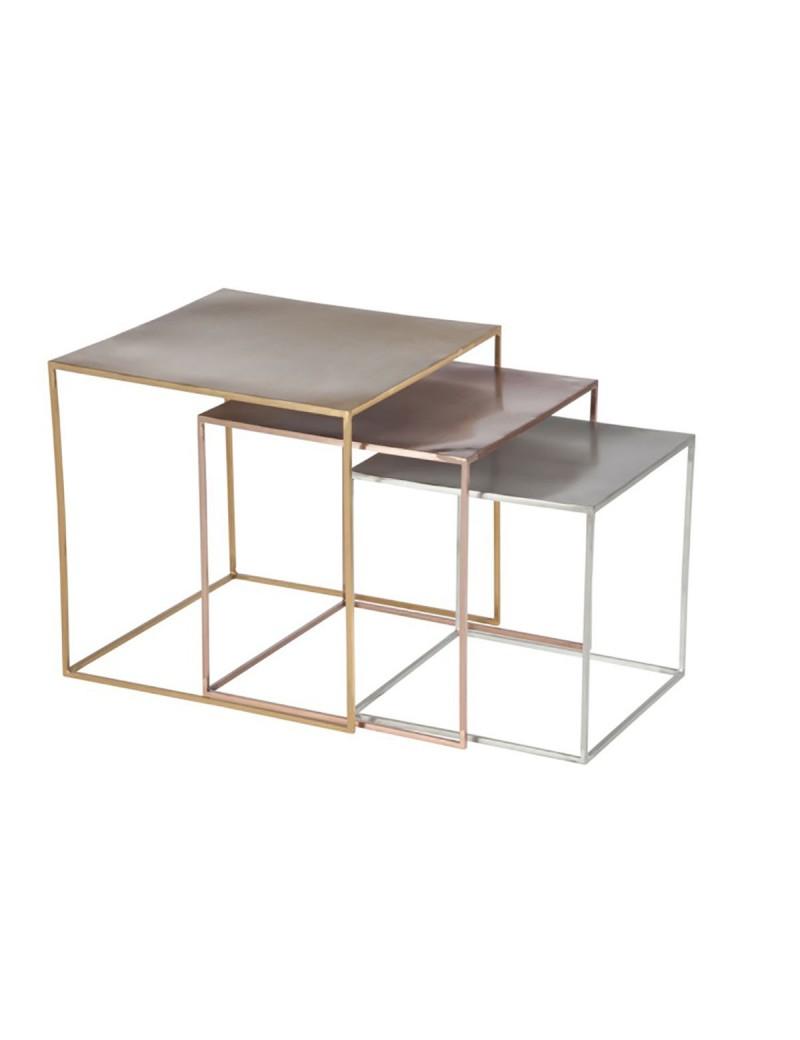 Set De 3 Tables Gigognes Metal Argent Cuivre Or