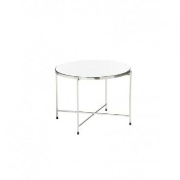 Table Gigogne Miroir Metal Argent Large