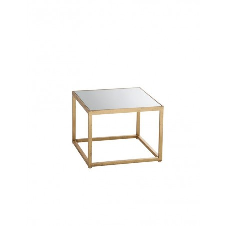 Table Gigogne Carre Metal Verre Or