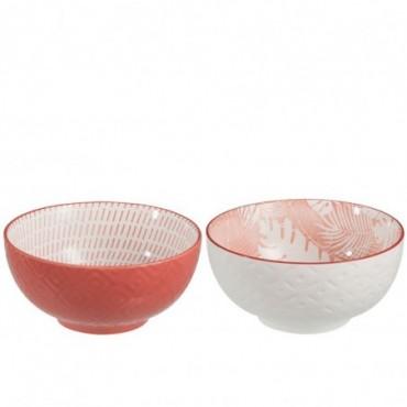 Bol Tropical Porcelaine Corail Rouge Taille L x2