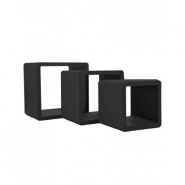Set 3 Tables Gigognes rectangulaire bois Noir