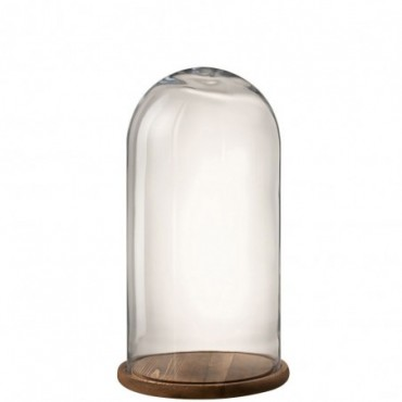 Cloche Ronde Bois/Verre Transparent/Marron Fonce Taille S