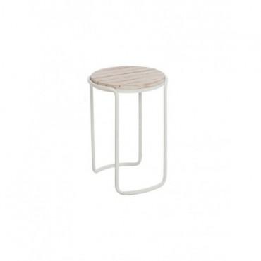 Table Gigogne Ronde bois naturel Metal Blanc