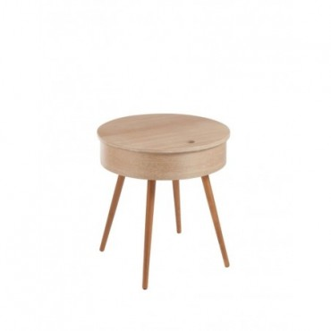 Table Gigogne Ronde Couvercle 4 Pieds bois naturel