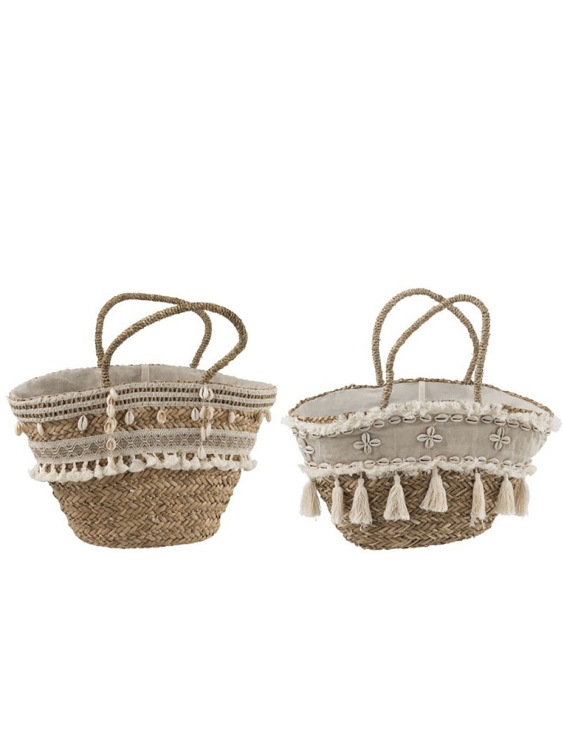Sac De Plage Boho + Pompons Jute Naturel (Assortiment de 2)