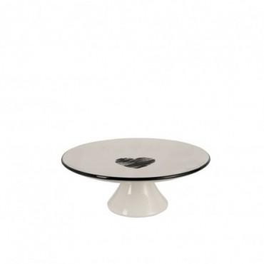 Plat A Tarte Coeur Ceramique Noir/Blanc