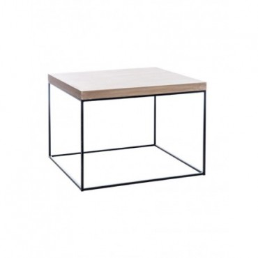 Table Gigogne Carree Bois Metal Naturel Noir Large