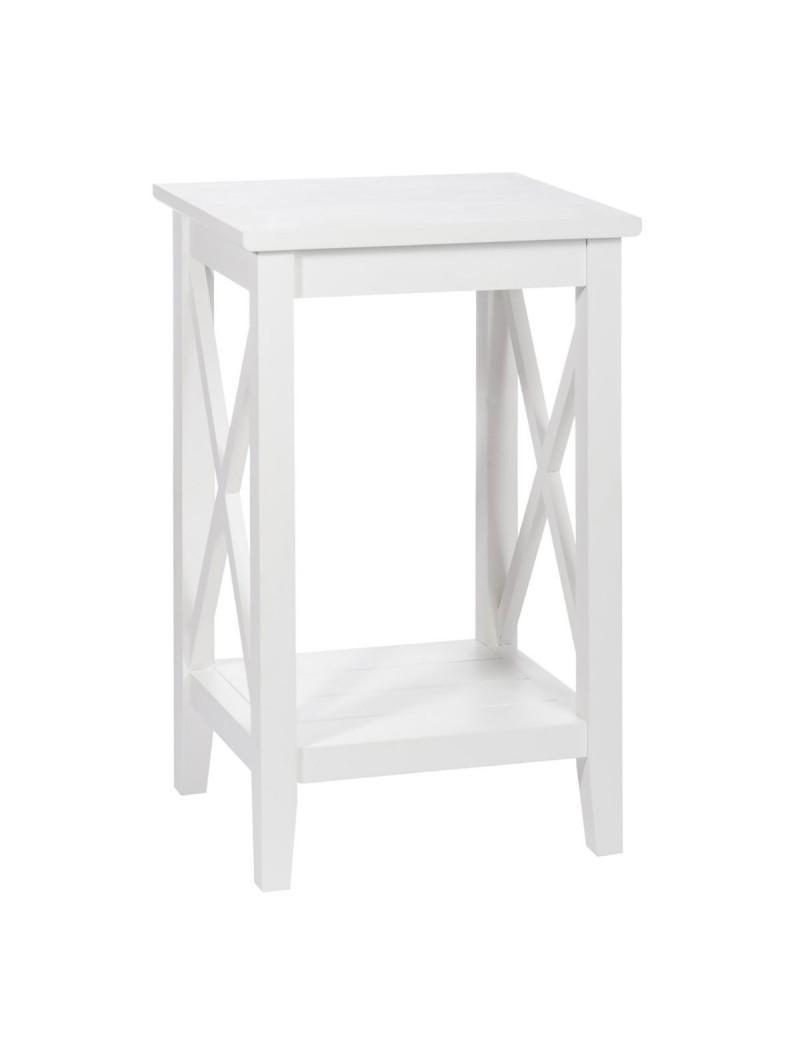 Table Gigogne Carre Croix Bois De Couleur Blanche