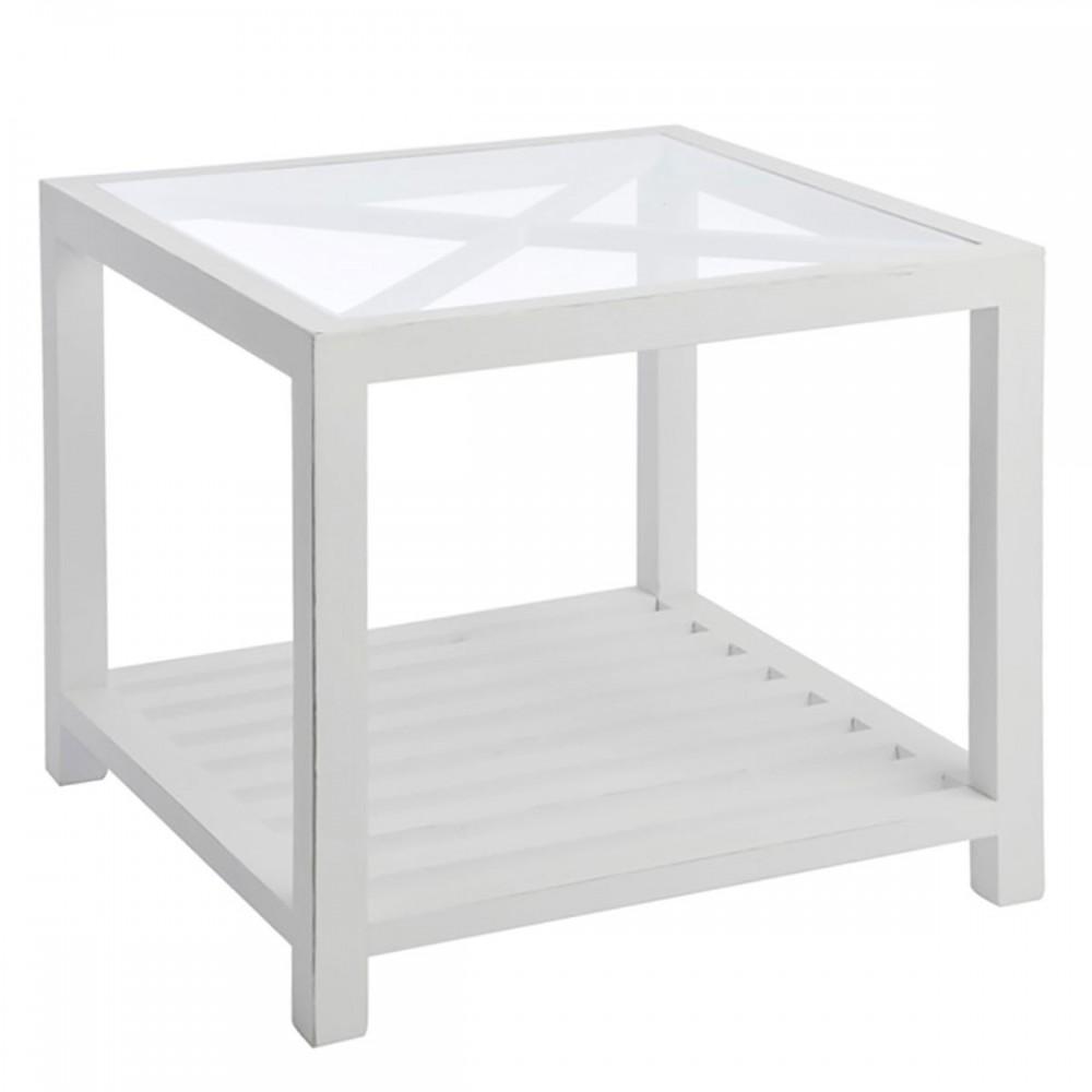 Table Gigogne Carree Croix Bois Verre Blanc