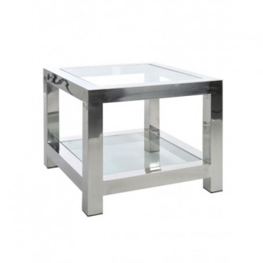 Table Gigogne Acier Inoxydable Verre Argent