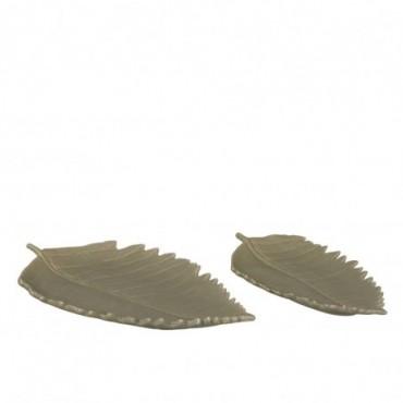 Set De 2 Plats Feuille Long Porcelaine Vert