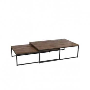 Set De 2 Tables De Salon Bois Metal Marron + Noir
